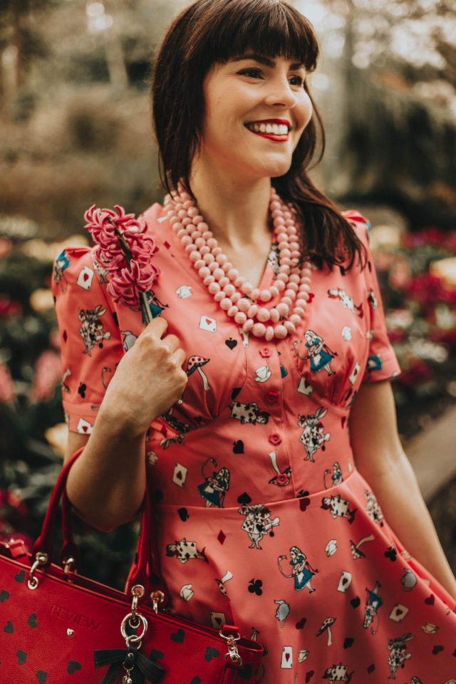 'Ionia' Pink Alice in Wonderland Print Tea Dress, Lindy Bop, Review Australia, ADD TO FAVORITES SUGARFIX by BaubleBar Bold Beaded Statement , Vintage fashion