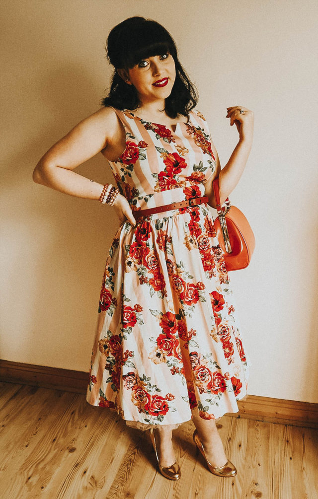 'Delta' Pink Floral Bouquet Print Swing Dress, Lindy Bop, A little Vintage Darling, vintage blogger, Irish Blogger, Ireland,