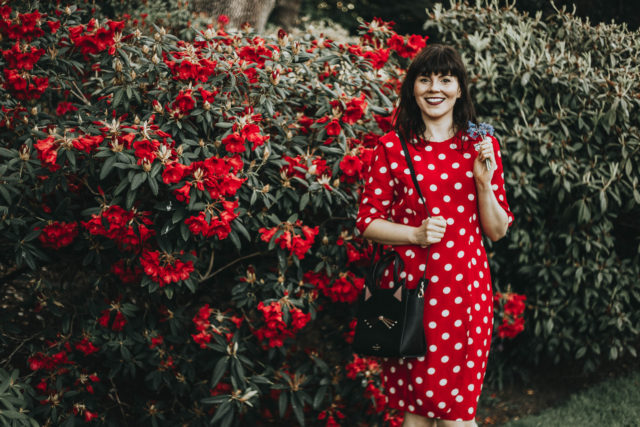 vintage polka dot dress, red polka dot, Kate spade cat bag, summer dress, vintage style