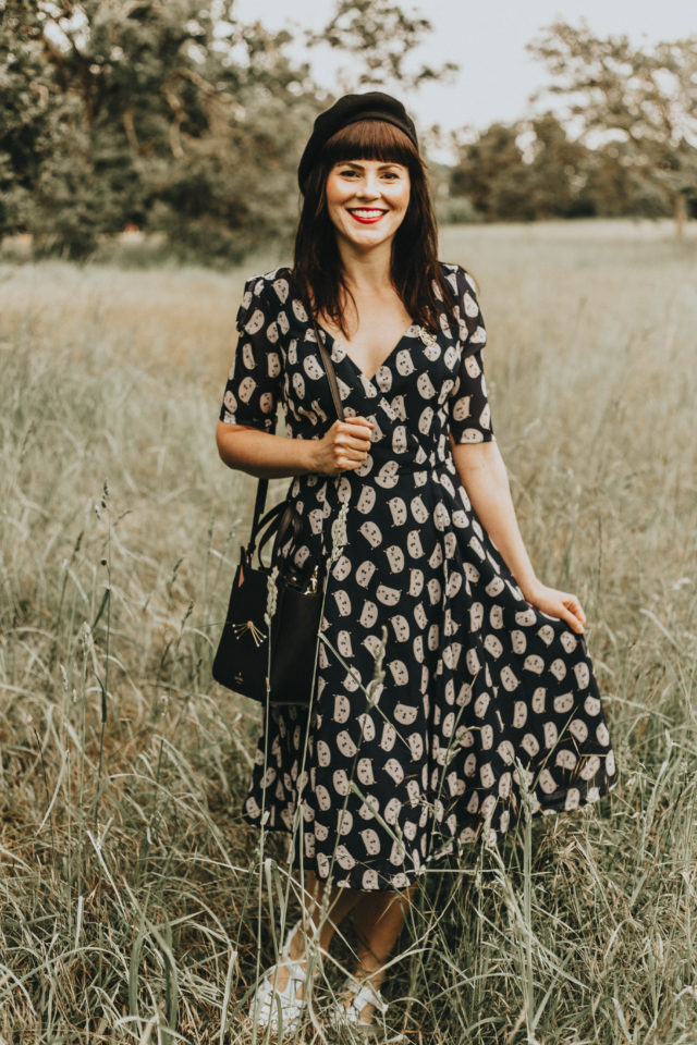 CAT PRINT GEORGETTE MIDI WRAP DRESS, eShakti, custom size dress, wrap dress, summer dress, cat printed dress,