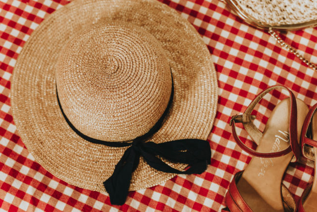 vintage summer accessories, vintage accessories, straw hat, vintage sandals, vintage straw bag, 1950s cat eye sunglasses, vintage fashion, summer fashion