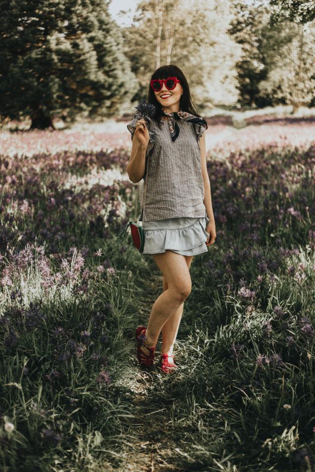 1.STATE Cotton Ruffled Denim Mini Skirt, 1.STATE Linen Striped Top, Macy's, Summer Fashion, linen, ruffled skirt, denim skirt, vintage fashion,