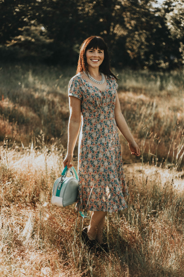 my cup of tea dress. muted floral print, Emmy Design, floral dress, crepe dress, vintage fashion, summer fashion, vintage inspired clothing brand, floral dress,