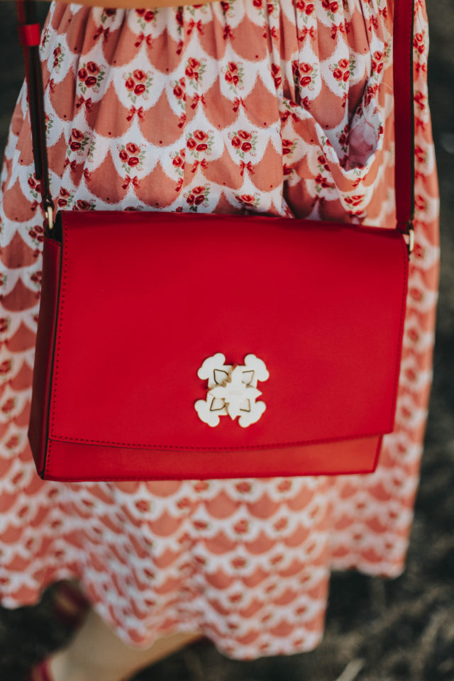 Medium red Leather Rossie Crossbody bag, Tous, Leather handbag, vintage Fashion, Summer dress, floral dress, leather handbag, red, retro, floral dress,