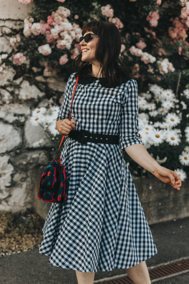 Black & White Gingham Cotton Half Sleeve Emily Swing Dress, Unique Vintage, Vintage polka dot dress, vintage fashion, vintage dress, summer fashion, vintage style, gingham dress,