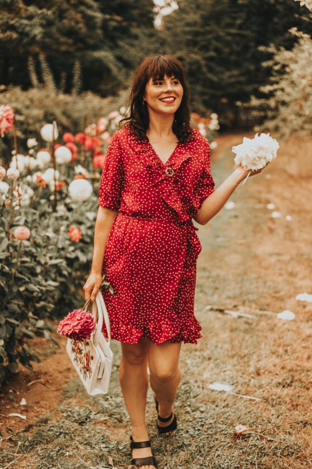 One Night in Paris Dots Wrap Dress in Red, Chic Wish, wrap dress, polka dot, polka dot dress, vintage inspired dress, vintage fashion, fall fashion,