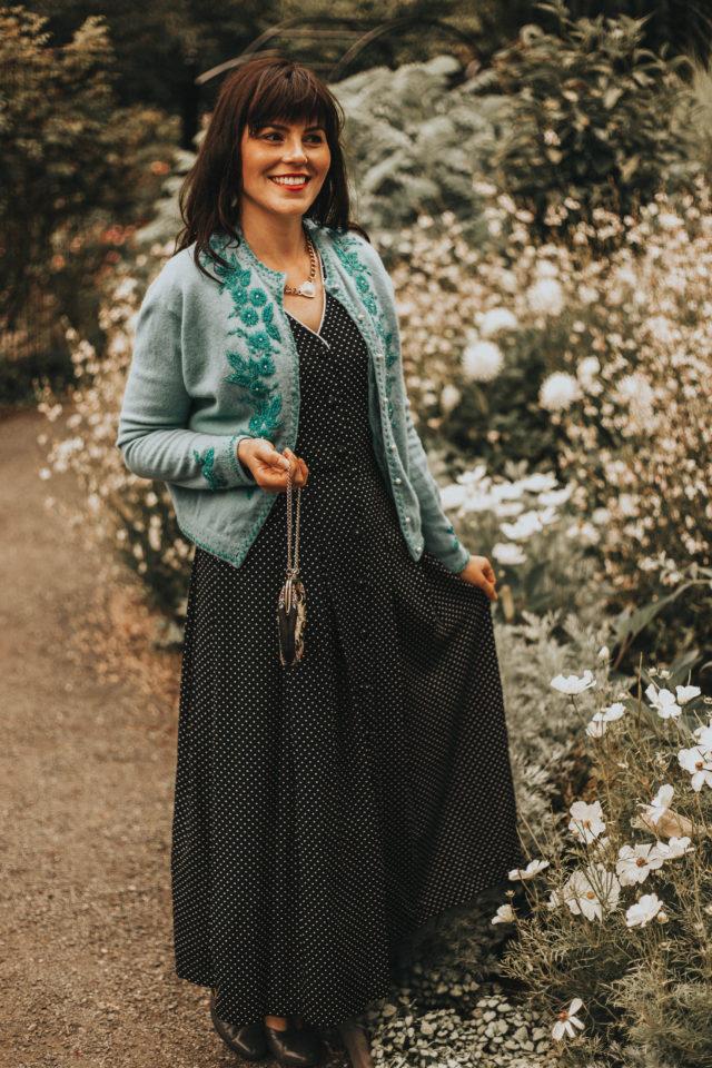 How to wear a vintage dress, vintage beaded cardigan, vintage floral dress, vintage embroidered bag, vintage floral dress, vintage dresses, vintage style, vintage fashion, vintage clothing,