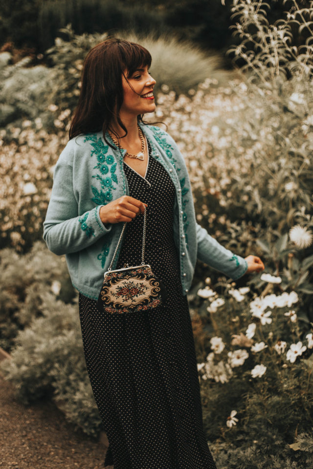 How to wear a vintage dress, vintage beaded cardigan, vintage floral dress, vintage embroidered bag, vintage floral dress, vintage dresses, vintage style, vintage fashion, vintage clothing,