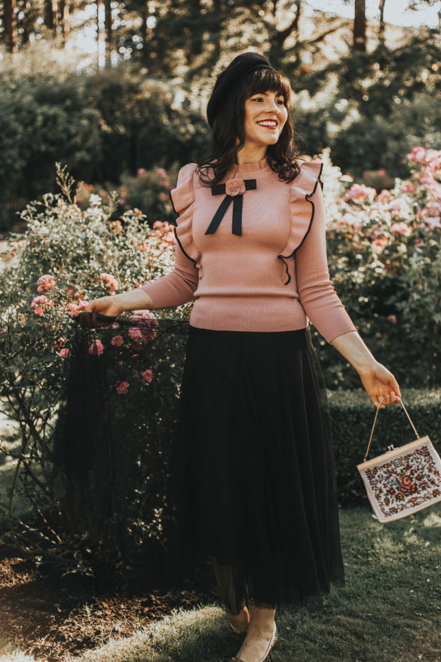 Charm Explorer Knit Top in Pink, Chic Wish, Enter Floral World Tulle Mesh Midi Skirt in Black, fall fashion, tulle skirt, vintage fashion, Victorian, Fashion,