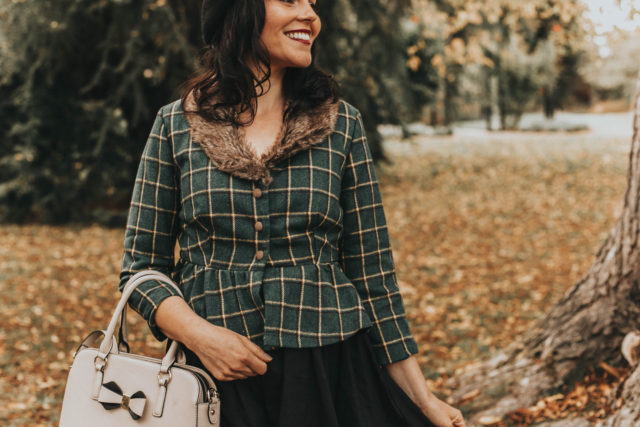 Alpina' Green Check Peplum Jacket, Lindy Bop, Valette' Black Polka Dot Swing Dress, Fall Fashion, vintage jacket, plaid vintage jacket, vintage style,