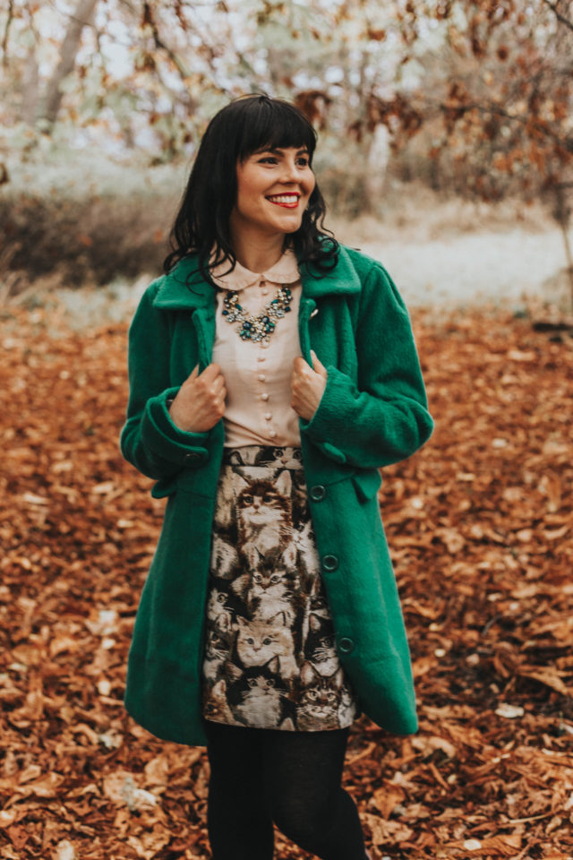 Modcloth Fall Fashion, Vintage inspired fashion, Modcloth, Intelligent Around Town Belted Coat in Dots, Charming Cotton Skirt with Pockets in Pet Portraits, Oh My Cozy Cowl Neck Sweater, B.A.I.T. Footwear Paris, Prance Heel in Rouge, Novelty Over Quantity A-Line Skirt, Ladylike Lately Collared Coat in Green, Thoroughly Ladylike Button-Up Top in Oxblood, Lost in Trot Velvet Flat, Get the Glitz Statement Necklace, The Flowers that Be Statement Necklace in Blue