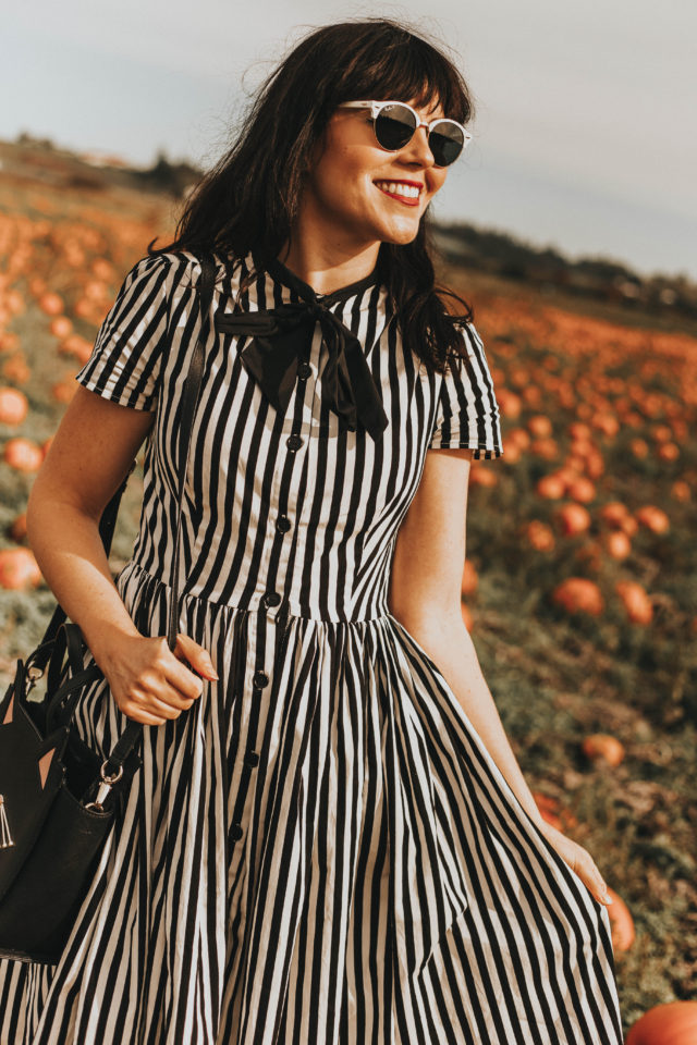 Unique Vintage 1950s Style Black & White Striped Button Up Swing Dress, Unique vintage, Halloween Fashion, Unique Vintage Cream Cotton Mummy Dearest Unisex Tee, Fall Fashion, vintage fashion,