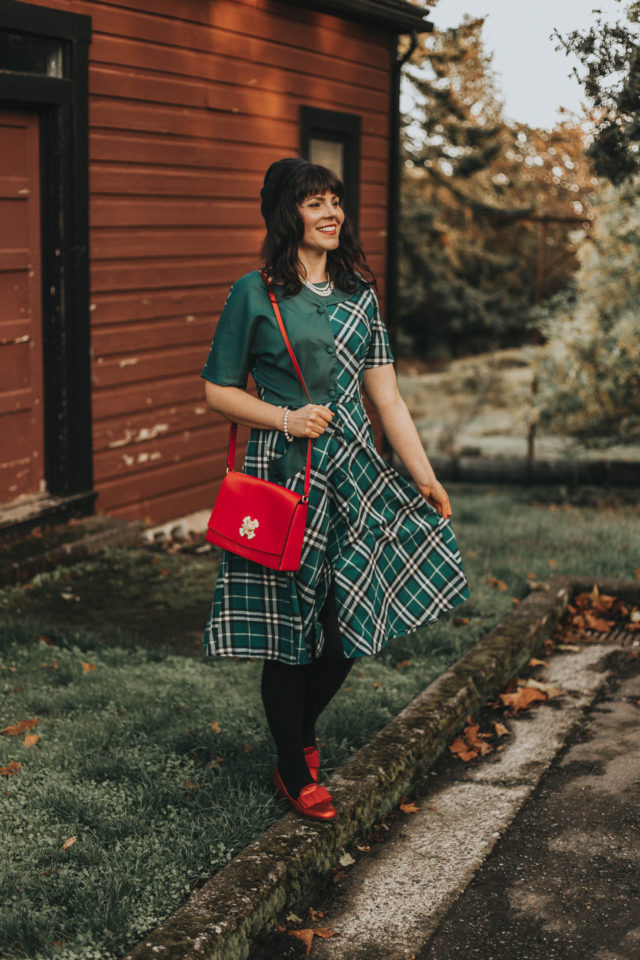 Unique Vintage 1940s Style Teal Plaid Short Sleeve Erwin Shirtdress, Unique Vintage, Plaid Dress, Vintage dress, fall plaid, autumn, vintage fall fashion