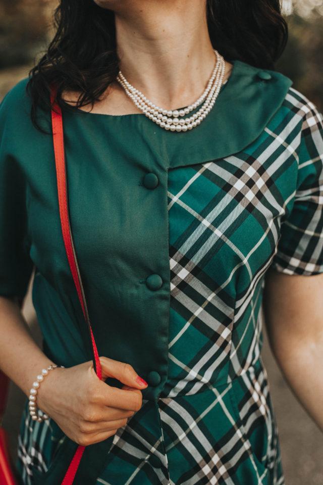 Unique Vintage 1940s Style Teal Plaid Short Sleeve Erwin Shirtdress, Unique Vintage, Plaid Dress, Vintage dress, fall plaid, autumn, vintage fall fashion