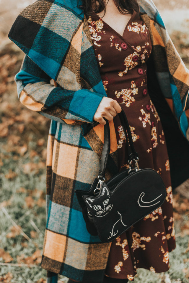 Intelligent Around Town Belted Coat, Modcloth, Sentimental Special Short Sleeve Dress, Retro Set-Up T-Strap Heel, Talking Picture Oxford Flat, Haul It All Shoulder Bag, Banned Cat Stop the Feeling Handbag, vintage inspired fashion, fall fashion,