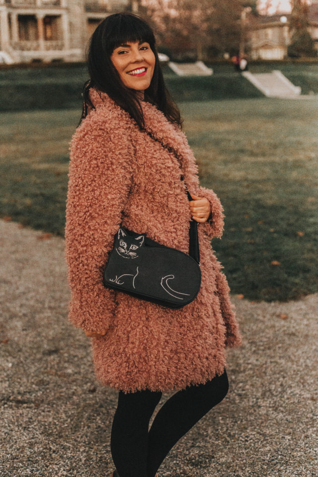 Chic Wish, Vintage inspired Fashion, Unique fashion, Cozy winter coats, Feeling of Warmth Faux Fur Longline Coat in Mauve, Swirl in Check Knot Knit Dress in Black