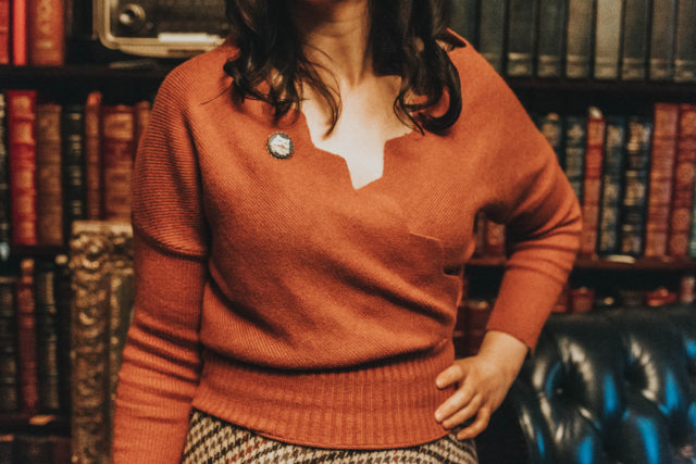 Chic Wish, More of You Houndstooth Tweed Skirt, Cafe Time Wavy Wrap Knit Top in Caramel, Vintage Fashion, Vintage sweater, Vintage tweed skirt, Winter fashion, Fall Fashion,
