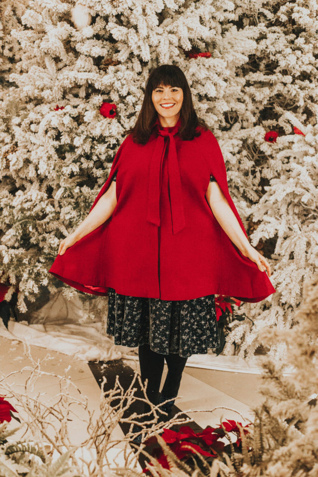 Collectif x MC Vixen Match Velvet Midi Dress, Sublime Sparkle Mid Heel, Posh the Limits Wool Cape, Modcloth, vintage style, vintage fashion, Collectif for Modlcloth, vintage inspired Christmas fashion