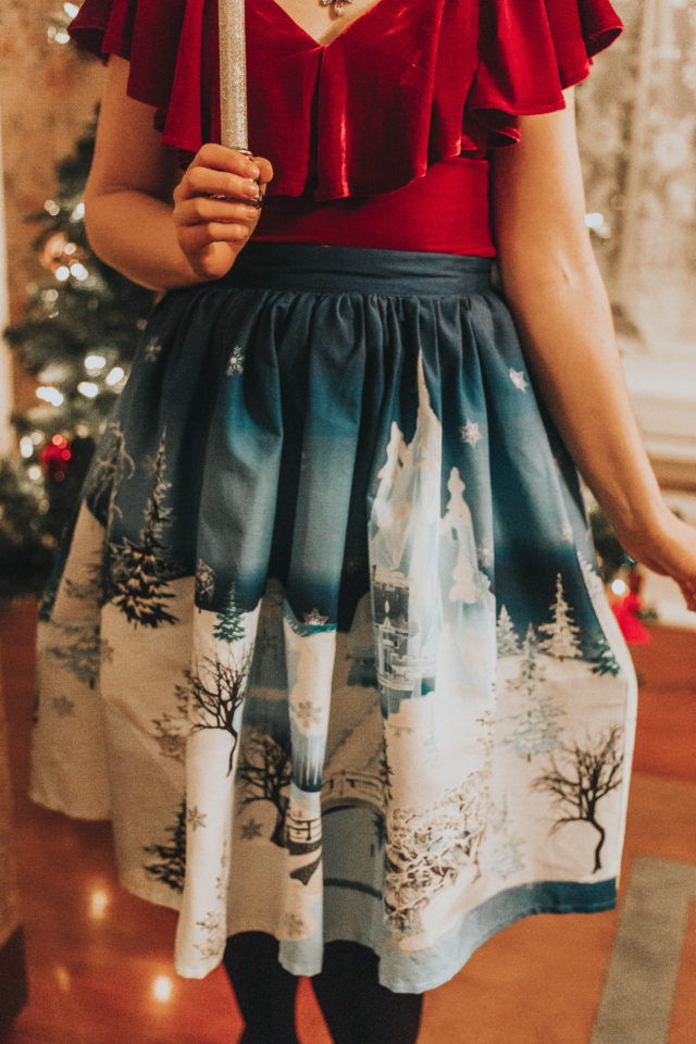 Unique Vintage 1950s Burgundy Velvet Off Shoulder Ruffle Frenchie Knit Top, Unique Vintage 1950s Blue & White Winter Kingdom High Waist Swing Skirt, Unique Vintage, Christas Decor, Vintage Christmas Decor, vintage Christmas outfit