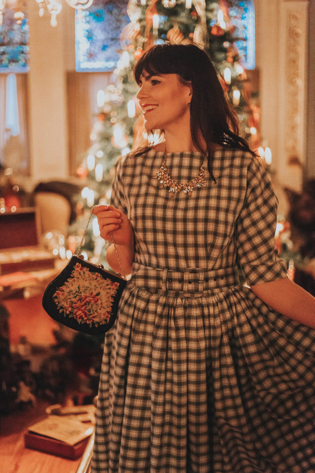 Craigdarroch Castle, Victorian Christmas Decor, Christmas decor at Craigdarroch Castle, Unique Vintage 1940s Style Grey & White Plaid Sleeved Sally Swing Dress, Unique Vintage, 1940s dress, Plaid Dress,
