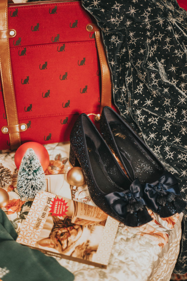 Collectif x MC Vixen Match Velvet Midi Dress, Posh the Limits Wool Cape, Shine All Mine Statement Necklace, Sublime Sparkle Mid Heel, Camp Director Zipped Tote in Crimson Cat, Stuff on My Cat Journal, Potluck Hostess Plaid Skirt, Oscar the One-Eyed Cat Sweater, The Zest Is History Heel in Green, Modcloth Holiday 2018, Modcloth holiday outfit Ideas, Modcloth fashion, Modcloth Christmas gift ideas.