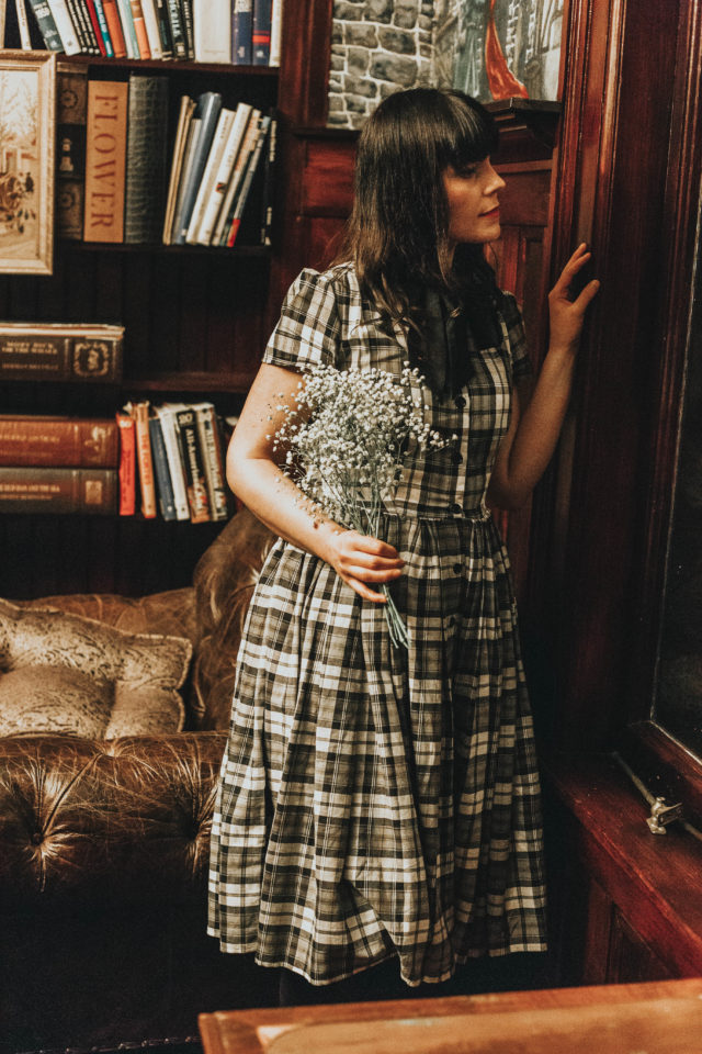 Unique Vintage 1950s Style Grey Plaid Button Up Swing Dress, Unique Vintage, Vintage Fashion, 1950s Plaid Dress, Winter Fashion, 1950s fashion, Marjorie Magazine, Laura Jane Atelier