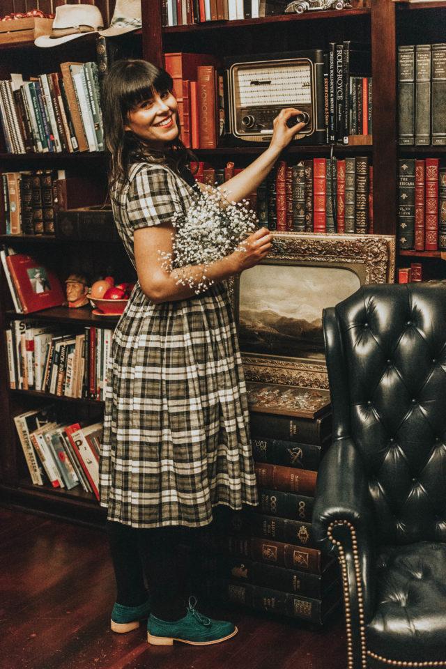 Unique Vintage 1950s Style Grey Plaid Button Up Swing Dress, Unique Vintage, Vintage Fashion, 1950s Plaid Dress, Winter Fashion, 1950s fashion, Marjorie Magazine, Laura Jane Atelier