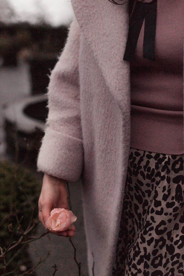 Charm Explorer Knit Top in Pink, Pink coat, Wild Heart Leopard Printed A-Line Midi Skirt, Chic Wish, winter fashion