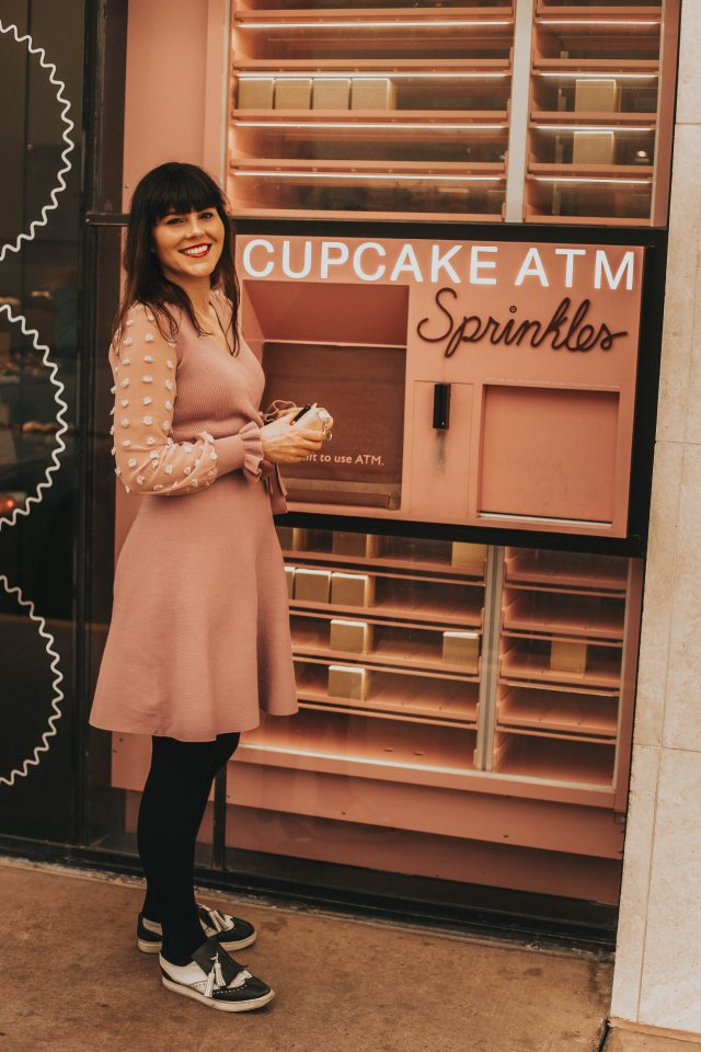 Sugar Bowl, Phoenix Arizona, Sprinkles Cupcake ATM, Scottsdale Arizona, There You Go Wrap Knit Dress in Pink, Chic Wish