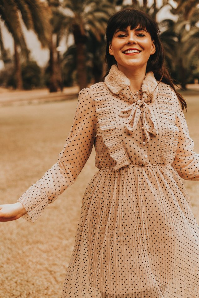 Just Like Polka Dots Mesh Dress in Light Tan
