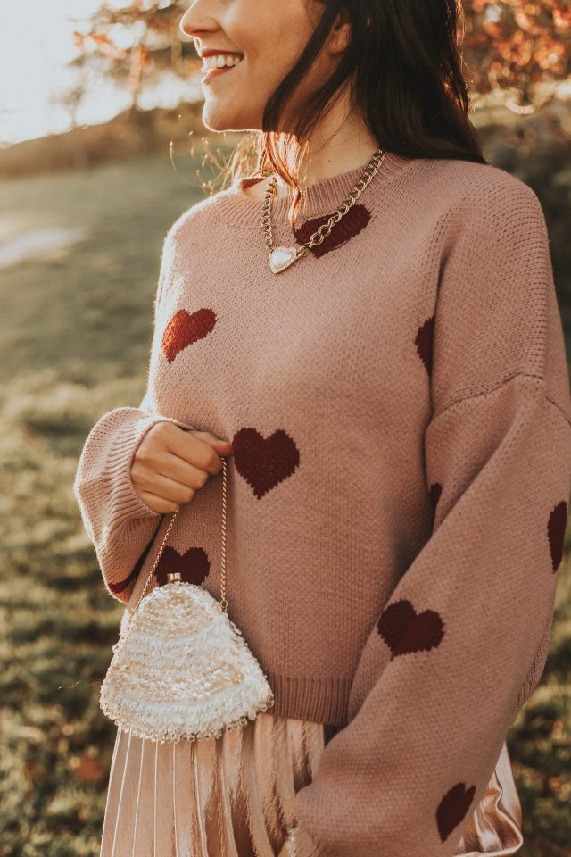 Hear Your Heart Beating Cropped Sweater, Call out Your Name Pleated Mesh Skirt in Pink, Valentines Day outfit ideas, Valentine's Day Date night outfit ideas, Chic Wish, Vintage Fashion