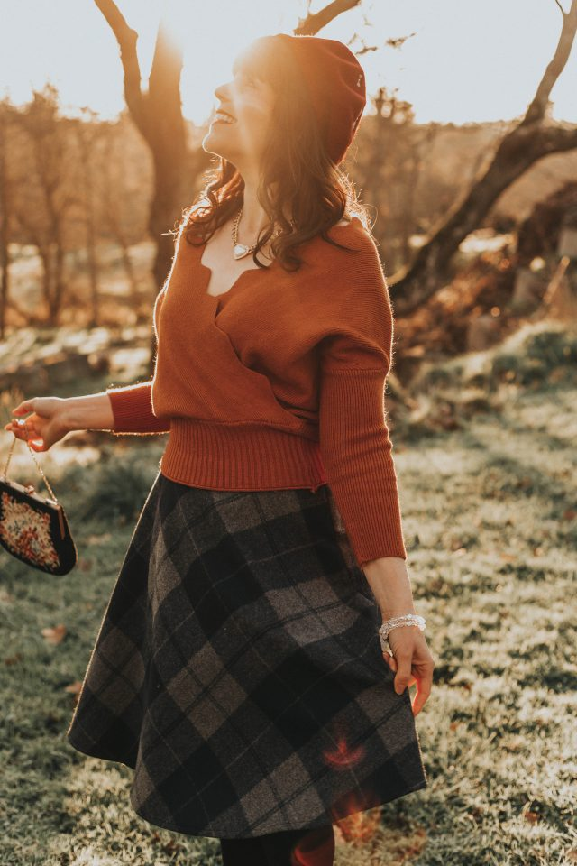 Cafe Time Wavy Wrap Knit Top in Caramel, Grid My Life Wool-Blend A-Line Midi Skirt, Chic Wish, Vintage Fashion, Vintage Style, Winter, Wool skirt, plaid skirt, Beret,