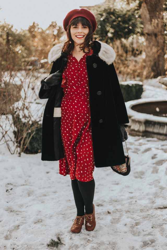 Fancy Dotted Ruffle Midi Dress in Red