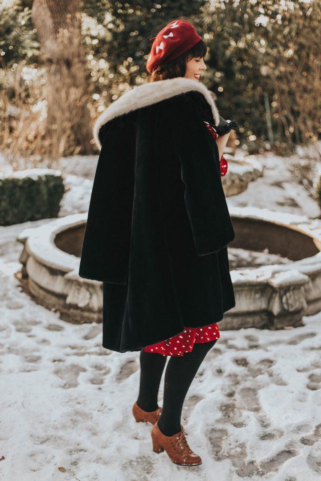 Fancy Dotted Ruffle Midi Dress in Red