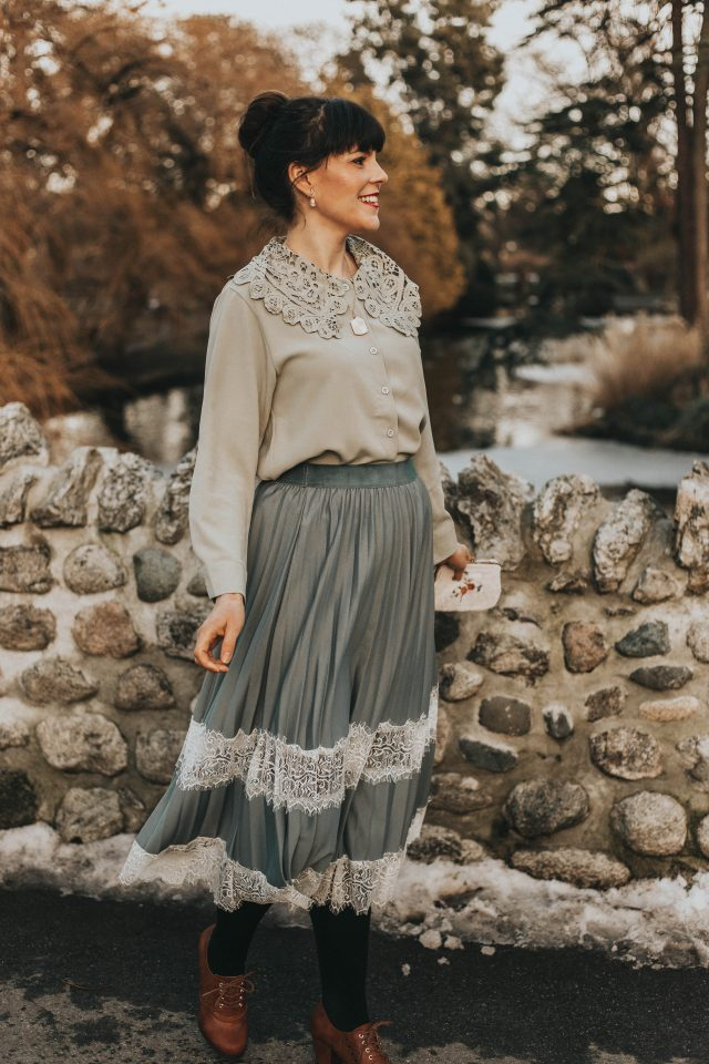 Romantic and Vintage Crochet Collar Top in Moss Green, Chic Wish, Between Lace Pleated Midi Skirt in Dusty Blue, vintage fashion, romantic vintage fashion, Edwardian vintage fashion, vintage style,