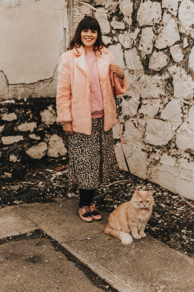 Wild Heart Leopard Printed A-Line Midi Skirt, Chic Wish Spring Fashion, walking your cat.