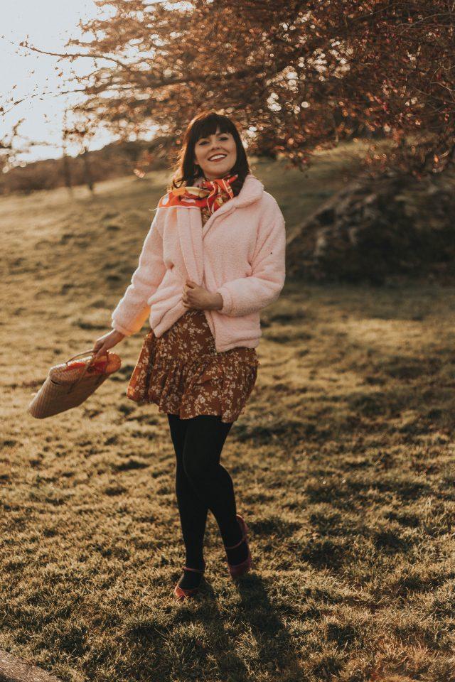 Zip Up Solid Teddy Jacket, Floral yellow wrap dress, Shein, Teddy coat, vintage scarf, vintage straw bag, spring fashion,