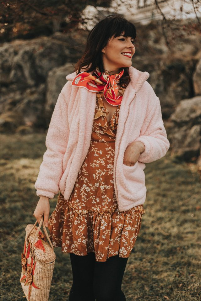 Zip Up Solid Teddy Jacket, Floral yellow wrap dress, Shein, Teddy coat, vintage scarf, vintage straw bag, spring fashion,