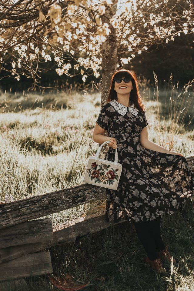 Unique Vintage 1940s Black & White Floral Lace Collar Margie Dress, Unique Vintage, 1940s floral dress, 1940s lace collar, vintage inspired 1940s dress, 1950s bag, vintage inspired 1940s fashion