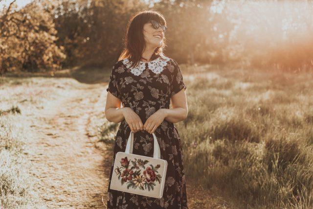 Unique Vintage 1940s Black & White Floral Lace Collar Margie Dress, Unique Vintage, 1940s floral dress, 1940s lace collar, vintage inspired 1940s dress, 1950s bag, vintage inspired 1940s fashion