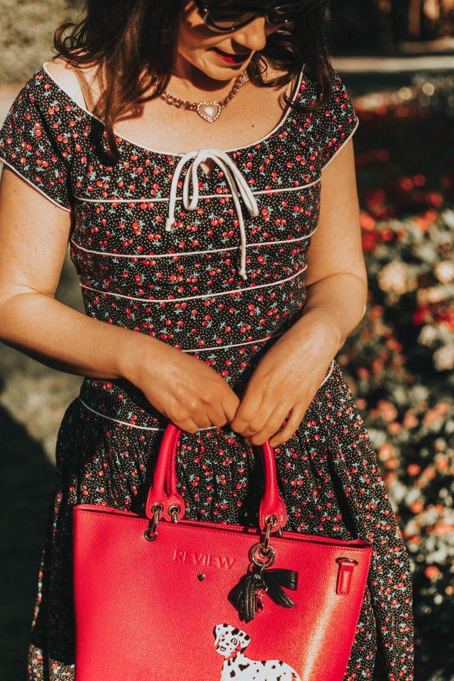 Unique Vintage 1940s Style Black Cherry Print Jeanie Swing Dress, Unique Vintage, Vintage inspired Fashion, vintage inspired 1940s dress, vintage style