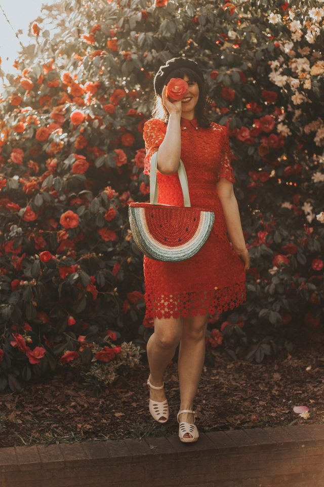 Faith in Elegance Crochet Shift Dress in Red, Chic Wish, Vintage inspired fashion, crochet dress, what to do with vintage clip on earrings, Brothers and sisters black bow beret for women, Collectif vintage inspired women's fashion and accessories, LULU HUN LILY WEDGE