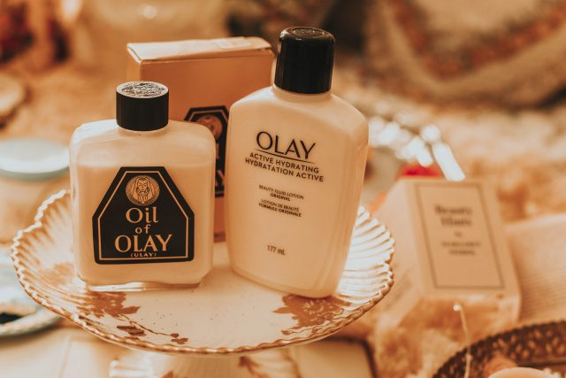 Vintage cosmetics you can still buy today, vintage cosmetic packaging then and now, vintage Avon you can still buy today, vintage Oil of Olay packaging, vintage Oil of Olay, Avon Moisture Rich face cream, vintage Avon skin softeners,