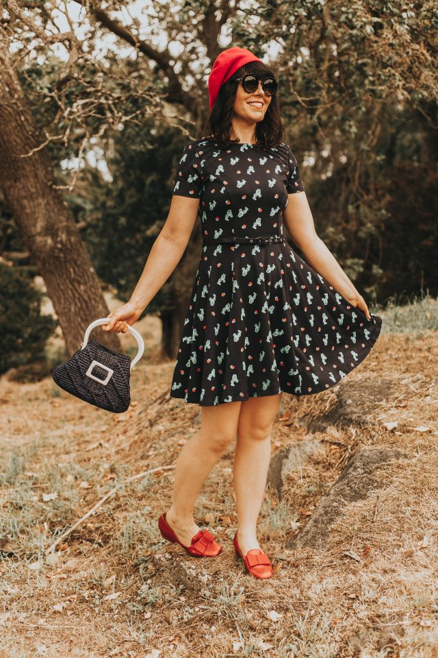 Unique Vintage Navy Knit Cactus Cutie Print Short Sleeve Fit & Flare Dress, vintage summer fashion, Unique Vintage, Kate Spade Sunglasses