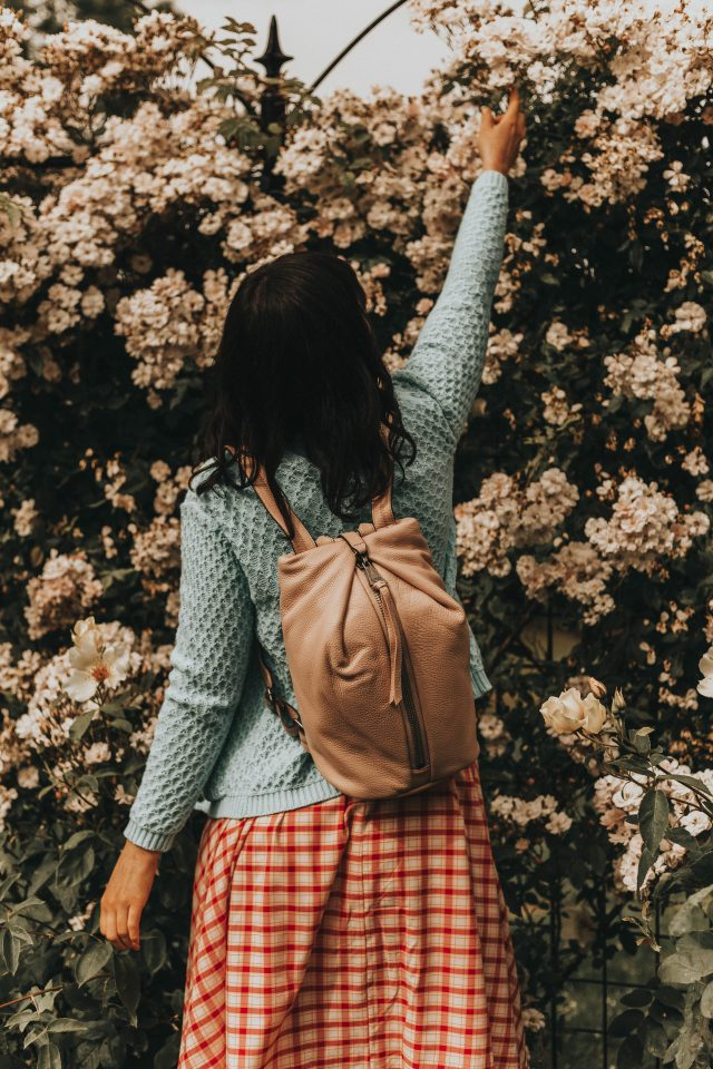 Aimee Kestenberg, TAMITHA BACKPACK, Unique Vintage, pink bubble leather backpack, Unique Vintage 1950s Style Raspberry Pink Plaid Doheny Swing Dress