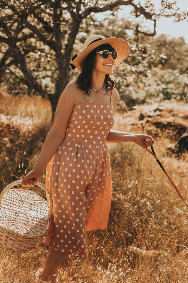 Unique Vintage Peach & White Polka Dot Wide Leg Nancy Romper, Unique Vintage, vintage Romper, vintage style, picnic with your cat, walking your cat