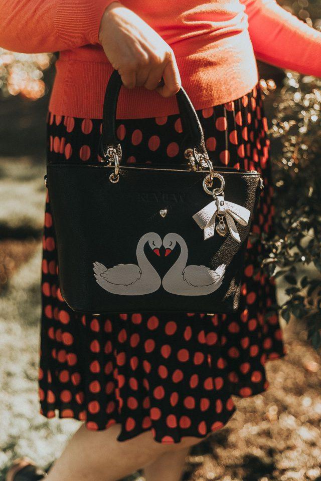 Review Australia, STELLA SWAN JUMPER,STELLA SWAN BAG, STELLA SWAN BROOCH, Vintage inspired swan themed outfit