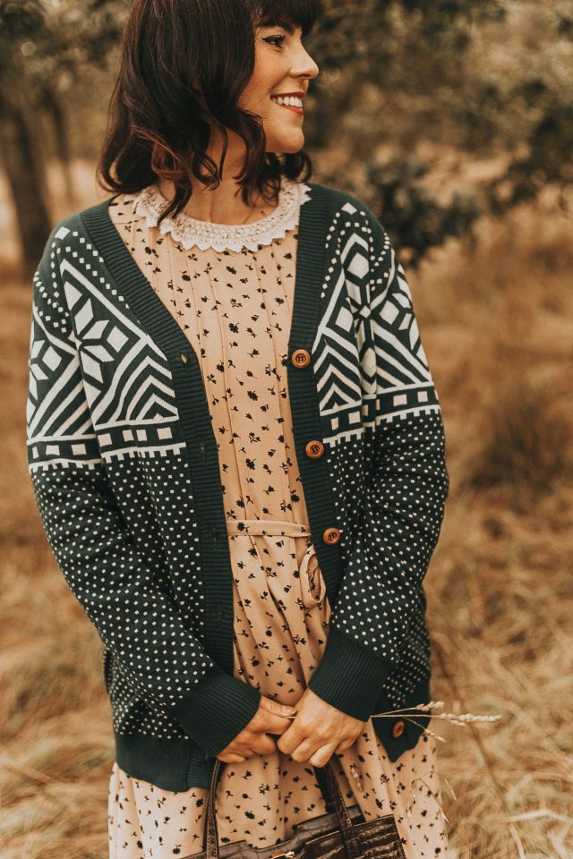 BRIGHT & BEAUTIFUL MANDY WOODLAND FAIR ISLE JUMPER, Collective, vintage inspired women's fashion, vintage cardigan, vintage dress, fall fashion