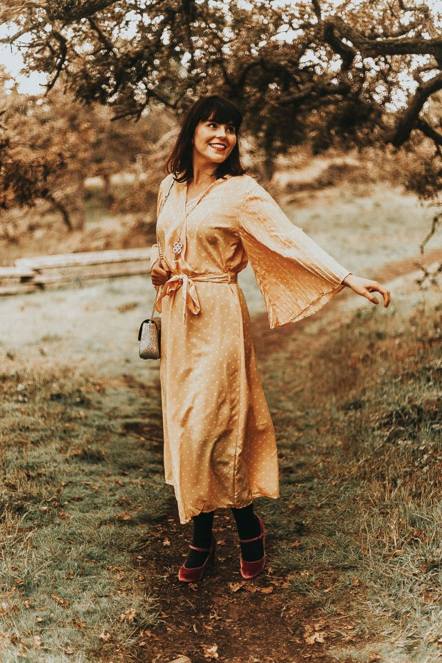 shein, Polka Dot Bell Sleeve Belted Dress, Vintage dress, Yellow Polka dot dress, vintage fall fashion, vintage style