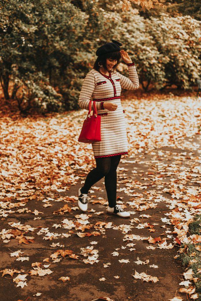 Chic Wish, Faux Pearl Trim Dotted Line Pattern Knit Midi Dress, knitted dress, vintage dress, vintage autumn dress, vintage style